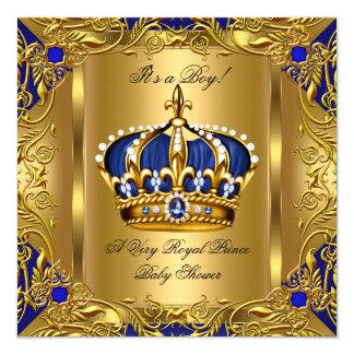 Prince Royal Blue Baby Shower Boy Regal Gold 3 13 Cm X 13 Cm Square Invitation Card