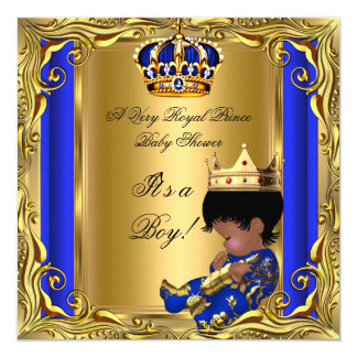 """Prince Royal Blue Baby Shower Gold Ethnic Boy 5.25"""" Square Invitation Card"""