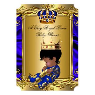 "Prince Royal Blue Baby Shower Regal Gold Boy 2 5"" X 7"" Invitation Card"