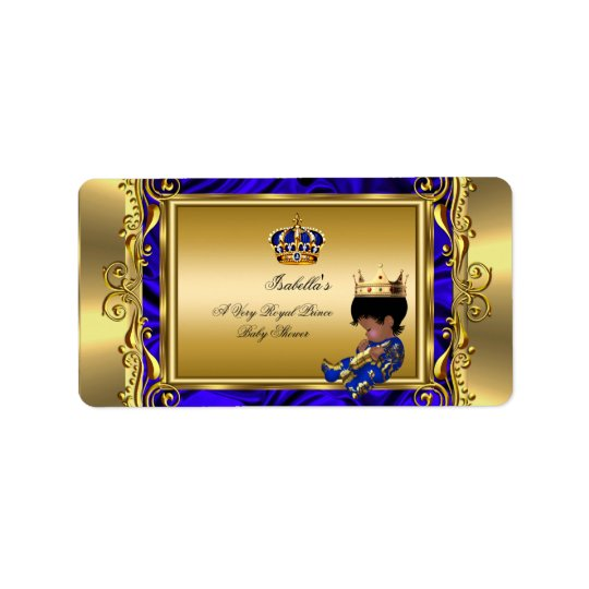 Prince Royal Blue Baby Shower Regal Gold Boy Address Label