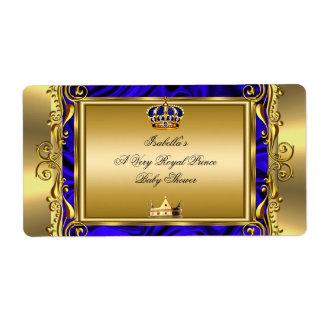 Prince Royal Blue Baby Shower Regal Gold Boy Shipping Label