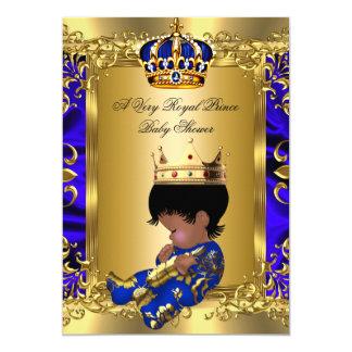 Prince Royal Blue Boy Baby Shower Regal Gold 13 Cm X 18 Cm Invitation Card