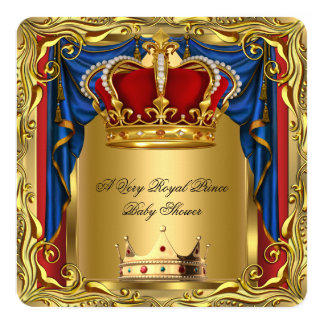 """Prince Royal Blue Boy Baby Shower Regal Red Gold 2 5.25"""" Square Invitation Card"""