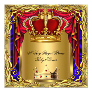"""Prince Royal Blue Boy Baby Shower Regal Red Gold 3 5.25"""" Square Invitation Card"""