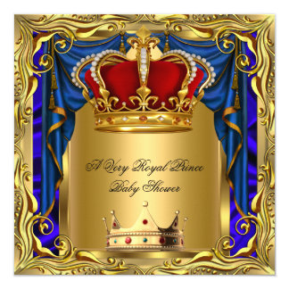 """Prince Royal Blue Boy Baby Shower Regal Red Gold 5.25"""" Square Invitation Card"""