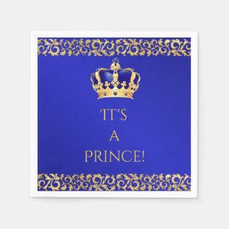 Prince Royal Blue & Gold Crown Disposable Serviette