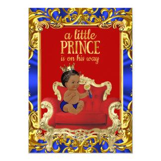 Prince Royal Blue Red Throne Baby Shower Ethnic 13 Cm X 18 Cm Invitation Card
