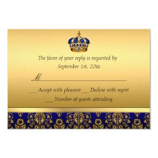 Prince Royal Blue Regal Crown Baptism RSVP Card