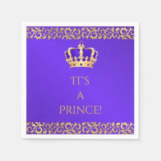 Prince Royal Purple & Gold Crown Disposable Napkins
