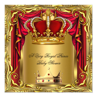 """Prince Royal Regal Red Boy Baby Shower Gold 5.25"""" Square Invitation Card"""