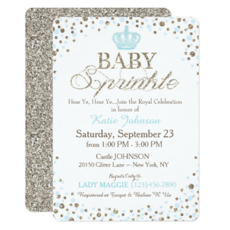 Prince Silver Glitter Sprinkle Baby Shower Card