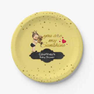 Prince Teddy Bear Baby Boy Shower | Sunshine Gold 7 Inch Paper Plate