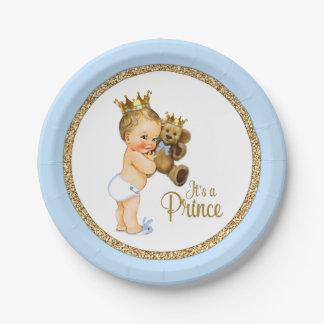 Prince Teddy Bear Boy Baby Shower Paper Plate