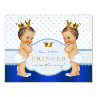 Prince Twin Baby Shower Card