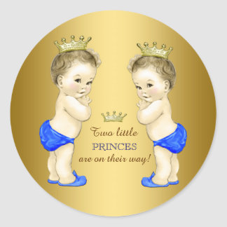 Prince Twin Boy Baby Shower Round Stickers