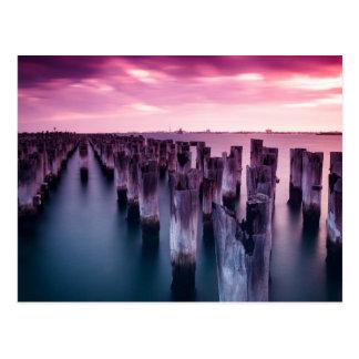 Princes Pier Melbourne Australia Purple Sunset Postcard