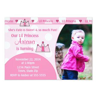 Princess 1st Birthday Invitation 5x7 Photo Card