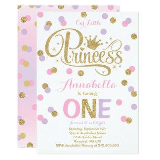 Princess 1st Birthday Invitation Pink Purple Gold