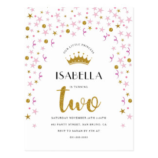 Princess 2nd Birthday | Gold & Pink Confetti Postcard
