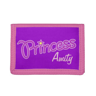 Princess add your own name girls kids purse tri-fold wallet