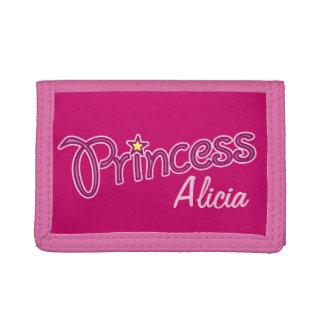 Princess add your own name girls kids purse trifold wallets
