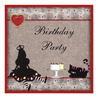Princess Alice & Cheshire Cat Birthday Party 13 Cm X 13 Cm Square Invitation Card