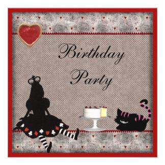 Princess Alice & Cheshire Cat Birthday Party Custom Invite
