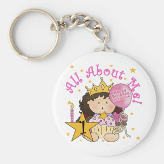 Princess All About Me 1st Birthday Tshirts Basic Round Button Key Ring