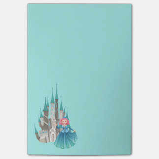 Princess and Castle in Turquoise Post-it Notes