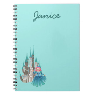 Princess and Castle in Turquoise Spiral Notebook