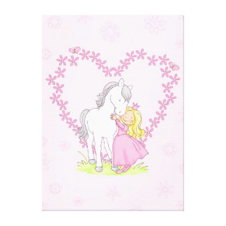 Princess and Horse Stretched Canvas Prints