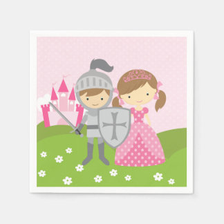 Princess and Knight party napkins Disposable Serviette