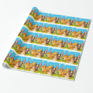 Princess and knights standing in front of the cast wrapping paper