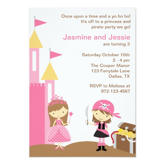 Princess and Pink Pirate Invitations