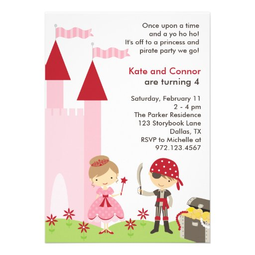 Princess and Pirate Invitation Personalized Announcements