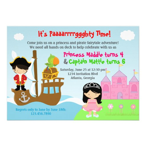 Princess and Pirate Twins Joint Birthday Party Custom Invitations