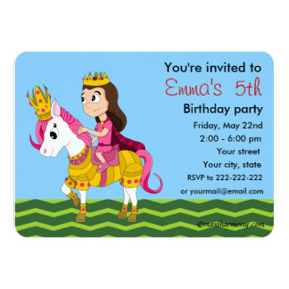 Princess and pony cartoon birthday invitations