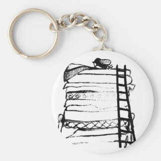 Princess and the pea basic round button key ring