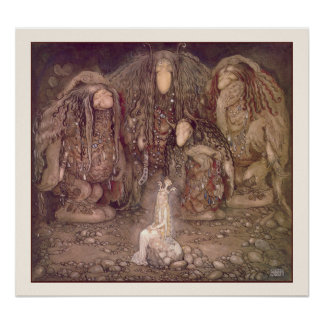Princess and the Trolls by John Bauer Poster