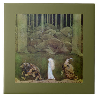 Princess and Trolls Walk Through Forest Large Square Tile