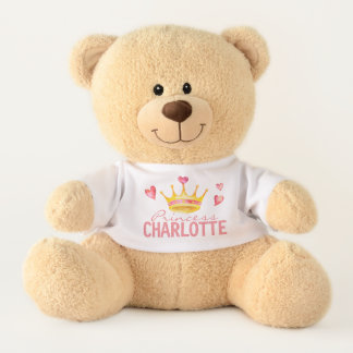 Princess ANY NAME Cute Personalized Hearts & Tiara Teddy Bear