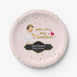 Princess Baby Girl Shower | Blush Pink Gold Dots Paper Plate