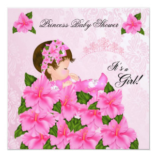 Princess Baby Shower Girl Damask Flowers 13 Cm X 13 Cm Square Invitation Card