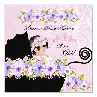 Princess Baby Shower Girl Damask Lilac Pink 13 Cm X 13 Cm Square Invitation Card