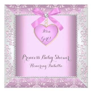 Princess Baby Shower Girl Diamonds Damask Pink 13 Cm X 13 Cm Square Invitation Card