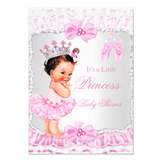 Princess Baby Shower Girl Pink Ballerina Brunette 13 Cm X 18 Cm Invitation Card