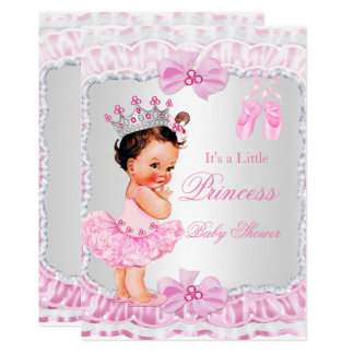 Princess Baby Shower Girl Pink Ballerina Brunette Card