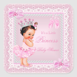 Princess Baby Shower Girl Pink Ballerina Brunette Square Sticker