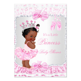 Princess Baby Shower Girl Pink Ballerina Ethnic 13 Cm X 18 Cm Invitation Card