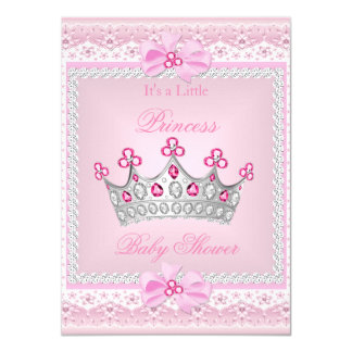 Princess Baby Shower Girl Pink Gem Silver Tiara Card